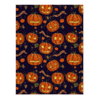 Halloween,classic,pumkin,vintage patten,scary,cute poster