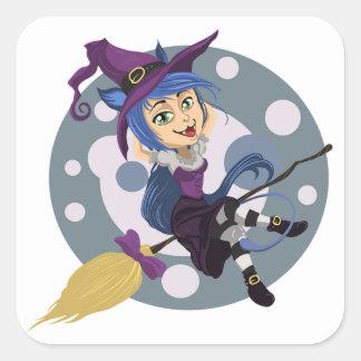 Halloween Classic Round Sticker/Cute Witch Square Sticker