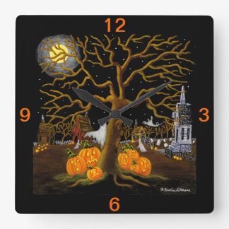 Halloween,clock,ghosts,Jack-O-Lanterns,graves Square Wall Clock