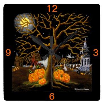Halloween Themed Halloween,clock,ghosts,Jack-O-Lanterns,graves Square Wall Clock