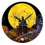Halloween,clock,graveyard,ghosts,witch,church Wall Clock