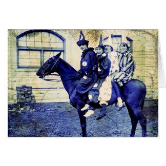 Halloween Clowns on A Horse Card