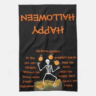 Halloween, cocina, toalla, esqueleto, calabaza, re toalla