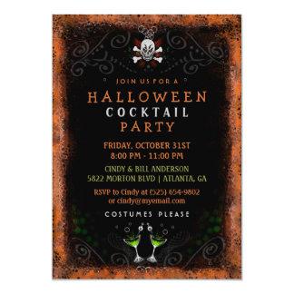 Halloween Cocktail Party Black Orange Border Skull Card