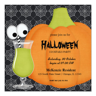 Halloween Cocktail Party Custom Invitation