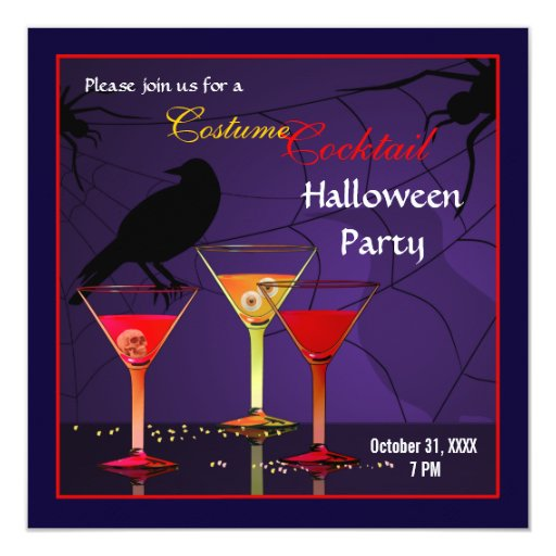 halloween cocktail party invitation zazzle. Black Bedroom Furniture Sets. Home Design Ideas