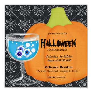 Halloween Cocktail Party 5.25x5.25 Square Paper Invitation Card