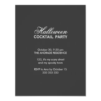 Halloween Cocktail Party Script Font Black White 4.25x5.5 Paper Invitation Card