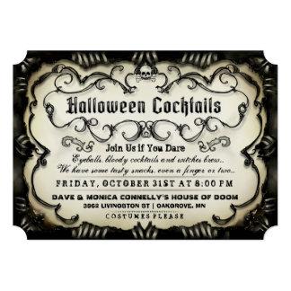 Halloween Cocktails Gothic Black & Tan Invite