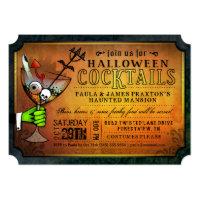 Halloween Cocktails Party Orange & Black Invite