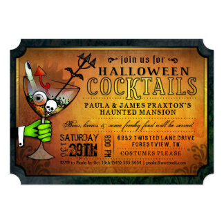 Halloween Cocktails Party Orange & Black Invite