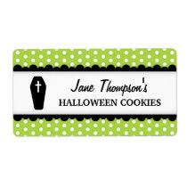 Halloween coffin green polka dot canning jar shipping label
