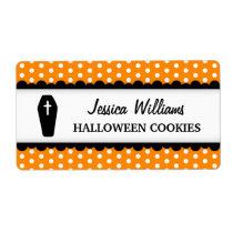 Halloween coffin orange polka dot canning jar shipping label