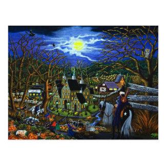 Halloween,college,witches,Jack-O-Lantern,wolf,bats Postcard