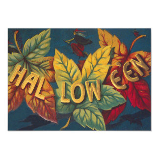 Halloween Colored Leaf Leaves Witch Bat Card