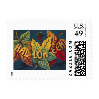 Halloween Colored Leaf Leaves Witch Bat Postage Stamp
