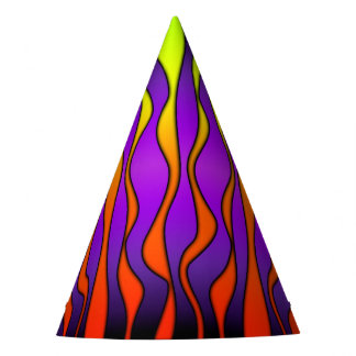 HALLOWEEN COLORED STRIPES PARTY HAT
