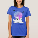Halloween Colorful Full Moon - Ghost on Blue Basic T-Shirt