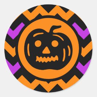 Halloween colors chevron vintage Jack o Lantern Classic Round Sticker