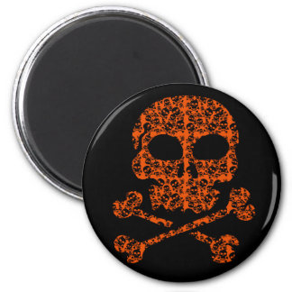 Halloween Colors!  Orange and Black Skulls Magnet