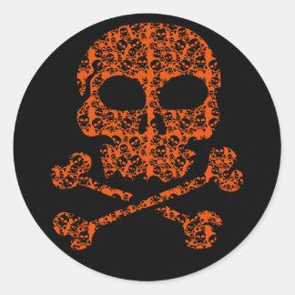 Halloween Colors!  Orange and Black Skulls Classic Round Sticker