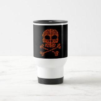 Halloween Colors!  Orange and Black Skulls Travel Mug