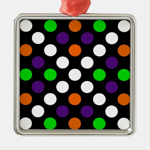Halloween Colors Polka Dot X Pattern Square Metal Christmas Ornament
