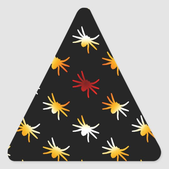 Halloween Colors Spiders Pattern Triangle Sticker
