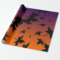 Halloween Colors With Blk Leaves Wrapping Paper