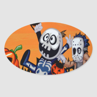 halloween comic characters oval sticker