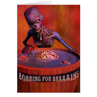Halloween Comic Zombie Bobbing for Brains Card