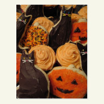 Halloween Cookies Cats and Pumpkins Postcard