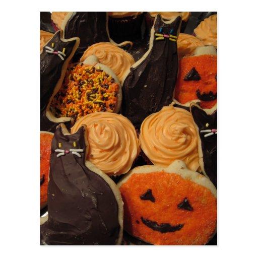 Halloween Cookies Cats and Pumpkins Postcard