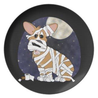 Halloween Corgi Mummy Plate