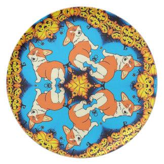 Halloween Corgis Dinner Plate