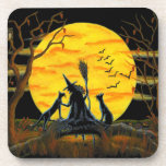 Halloween cork back coasters,witch,black,cats,bats coaster