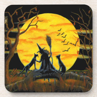 Halloween cork back coasters,witch,black,cats,bats drink coaster