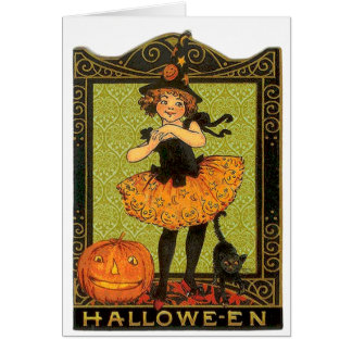 Halloween Costume and Cat Greeting Card
