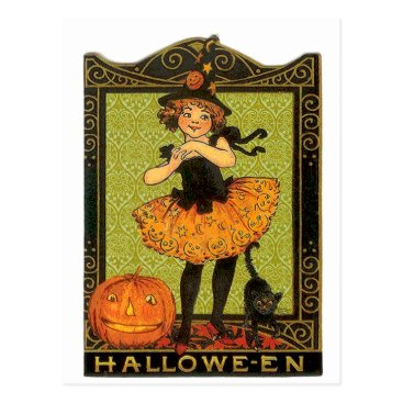 Halloween Themed Halloween Costume and Cat Postcard