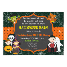 Halloween Costume Birthday Bash Invitation at Zazzle