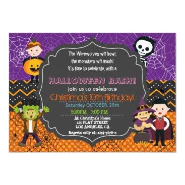 Halloween Themed HALLOWEEN COSTUME BIRTHDAY PARTY INVITATION