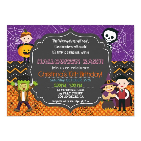HALLOWEEN COSTUME BIRTHDAY PARTY INVITATION Zazzlecom