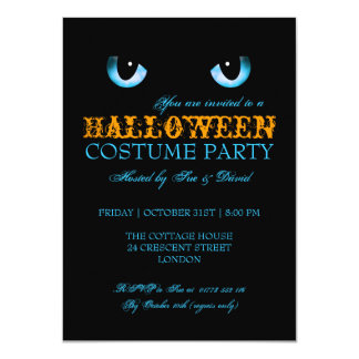 Halloween Costume Party Black Cat Blue Card