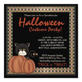 "Halloween Costume Party  Black Cat  Pumpkins 5.25"" Square Invitation Card"
