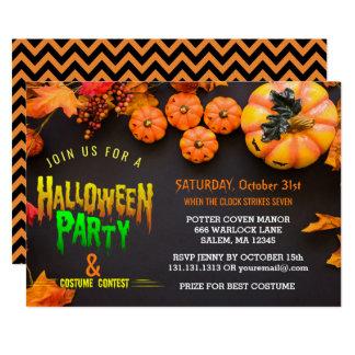 Halloween Costume Party Black Orange Card
