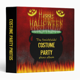 Halloween Costume Party Cauldron Fire 3 Ring Binders