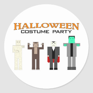 Halloween Costume Party Classic Round Sticker