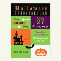 Halloween Costume Party Color Party Invitation