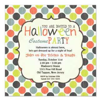 Halloween Costume Party Colorful and Fun Card
