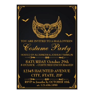 Halloween Themed Halloween Costume Party Gold Card
